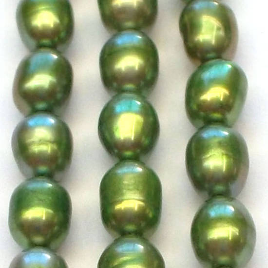 NEW! Freshwater Pearl Strand: Green oval 4x5mm