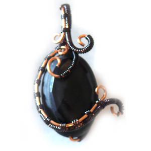 KITSET: Freeform Pendant - black agate