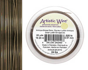 Artistic Wire: 24 gauge, Antique Brass