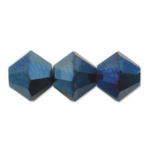 4mm Swarovski Crystal Bicone, Blue Metallic