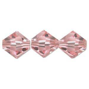 4mm Swarovski Crystal Bicone, Rose, light
