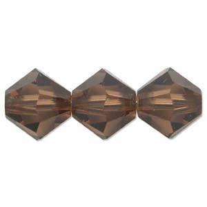 6mm Swarovski Crystal Bicone, Topaz, smoked