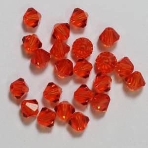 4mm Swarovski Crystal Bicone, Red Topaz