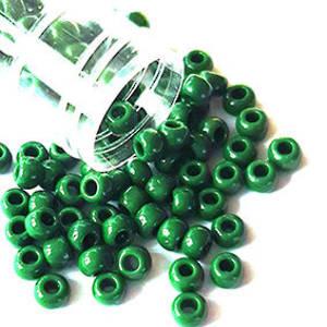 Miyuki size 6 round: 411B - Opaque Dark Pea Green