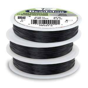 Beadalon 7 strand flexible wire BLACK: Fine (.012)