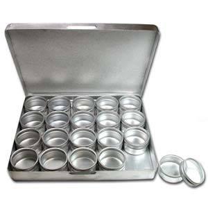 Aluminium Storage box: 20 containers (30 x 18mm) **NOTE MEASUREMENTS**