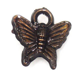Acrylic Charm: Butterfly - antique brass