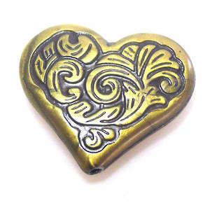 Acrylic Bead, leafy heart - antique brass