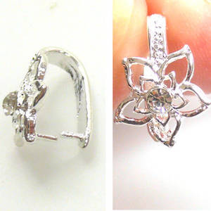Claw bail with filigree diamante flower