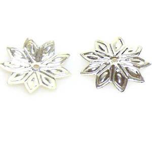 Bright Silver Bead Cap, 12mm, flat flower