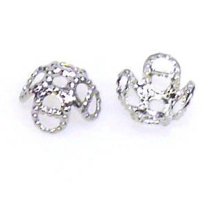 Antique Silver Bead Cap, 7mm, flower like