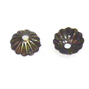 Antique Brass Bead Cap, 5mm, fluted,