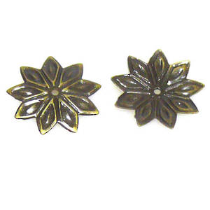 Antique Brass Bead Cap, 12mm, flat flower