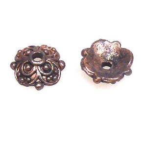 Antique Copper Bead Cap, 10mm, cast decorative