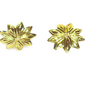 Gold Bead Cap, 12mm, flat flower