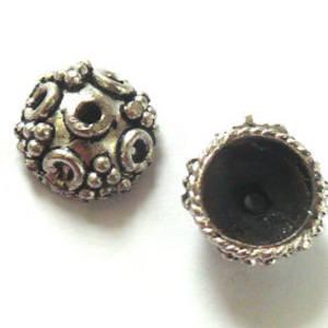 Antique Silver Bead Cap, 14mm rough cast, dot design