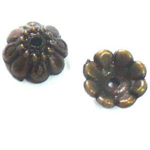 Antique Brass Bead Cap, ACRYLIC, 10mm, flower