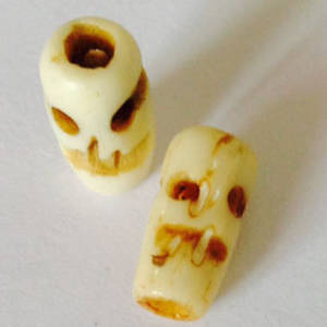 Bone Bead: Skull tube 12mm x 5mm