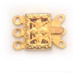 Box Clasp: Imprinted 3 strand - gold