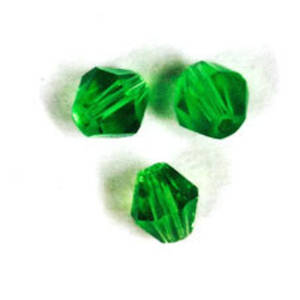 Cut Glass Bicone, 4mm - Emerald