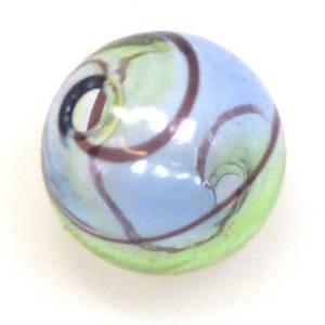 Chinese Blown Glass, Blue, Green, Black ball