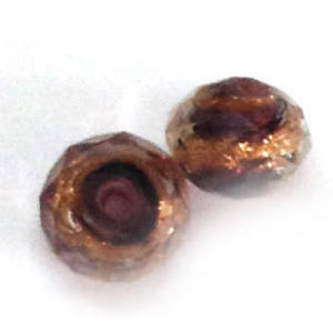 Chinese Crystal, 10mm rhondelle - Amethyst with gold swirl