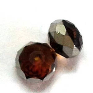 Chinese Crystal, 8mm rhondelle - Dark Topaz with silver stripe