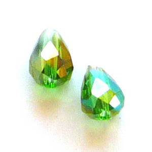 Chinese Crystal, 6mm x 8mm drop, Grass Green AB