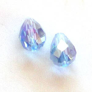 Chinese Crystal, 6mm x 8mm drop, Light Sapphire ab