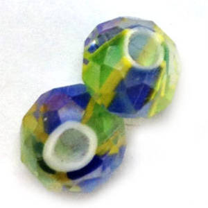 Chinese Lampwork Facet, Blue, Green, Yellow stripes