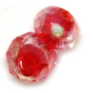 Chinese Lampwork Facet, Red with pink and green flower swirls