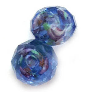 Chinese Lampwork Facet, Lt Sapphire with pink and green flower swirls