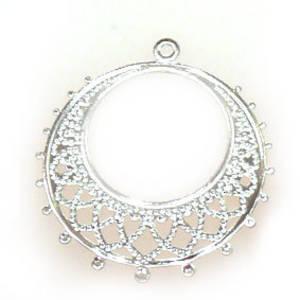 Antique Silver Chandelier Top, Fine Filigree Round