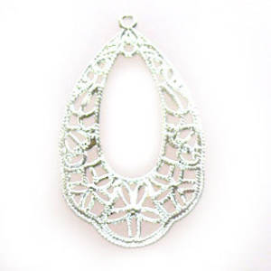 Bright Silver Chandelier Top, Fine Filigree Pear