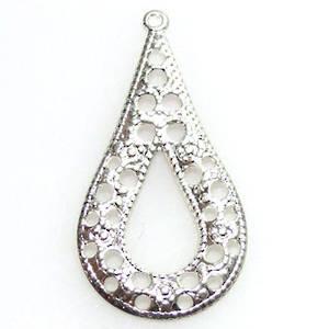 Antique Silver Chandelier Top, Fine filigree pear