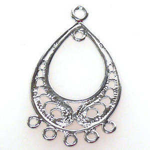 Antique Silver Chandelier Top,  Filigree Pear with 5 bottom loops