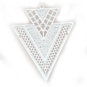 Tin Charm: White deco (32 x 40mm)