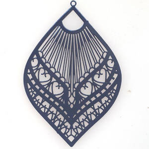 Tin Charm: Navy filigree leaf  (39 x 59mm)