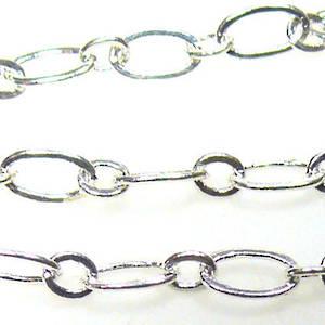 Fine Oval Chain: Bright Silver (6mm/3mm)