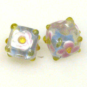 Chinese Lampwork Cube , Dull Blue with Pink Flower