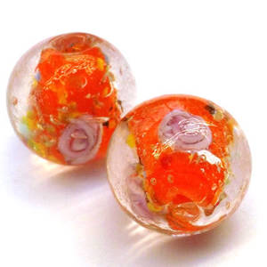 Chinese lampwork, ball clear/orange with pink flowers