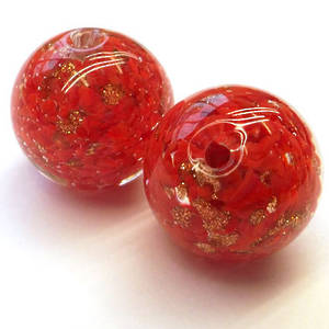 Chinese lampwork ball, clear/red with gold markings
