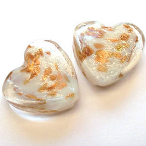 Chinese lampwork heart, clear and white with gold decoration