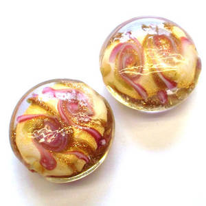 Chinese lampwork cushion, pink/gold/cream swirl design