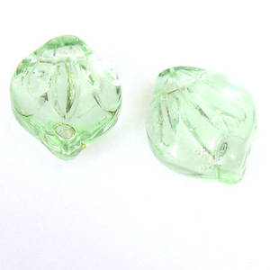 Fat Curved Leaf, 12mm x 15mm -  Chrysolite transparent