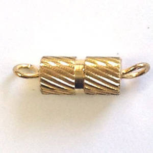 Barrel Clasp, medium - gold with engraved lined