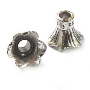 Futed Bell Cone, 10mm - Antique Silver