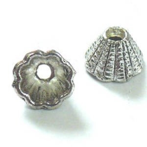Short Cone, 6x8mm - Silver, fluted line detail