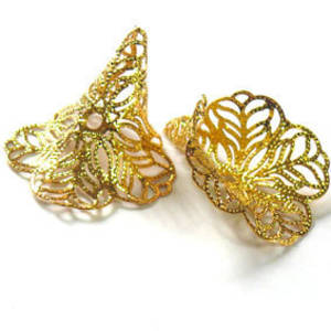 Large filigree cone, 28x44mm - Gold - self adjusting