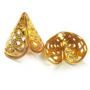 Gold  filigree cone, triangular